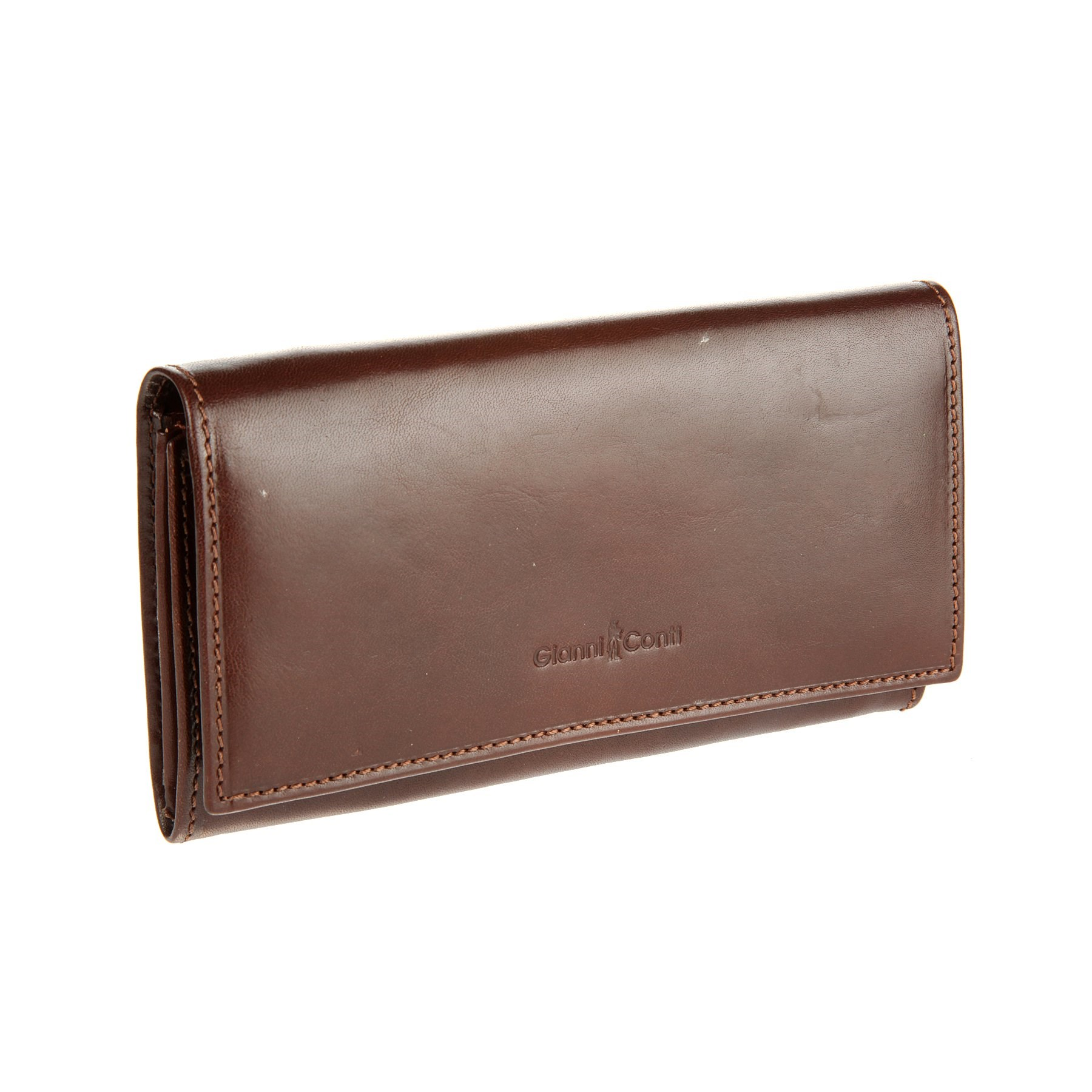 Coin Purse Gianni Conti 907003 Brown simline vintage genuine crazy horse cow leather men men s long hasp wallet wallets purse zipper coin pocket holder with chain