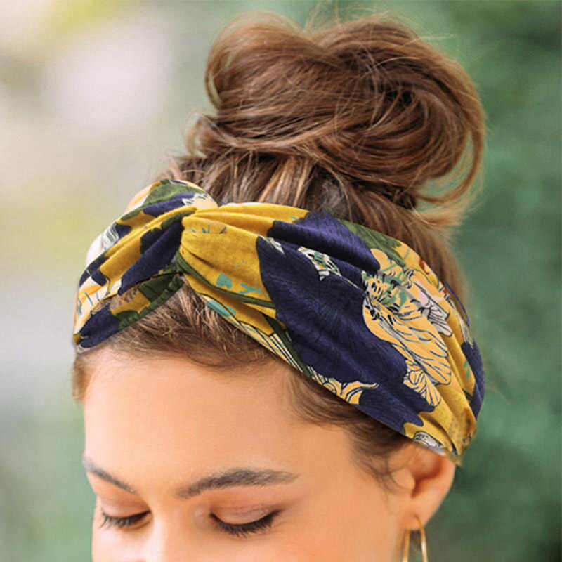 Fashion BoHo Lebar Stretch Bando Headpiece Headwrap Sorban Hiasan Kepala Rambut Band Bandana