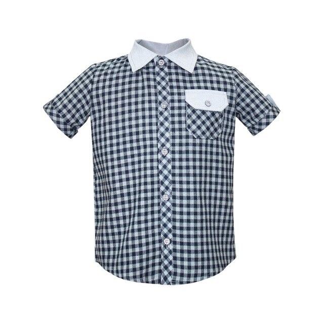 Рубашка в клетку серая