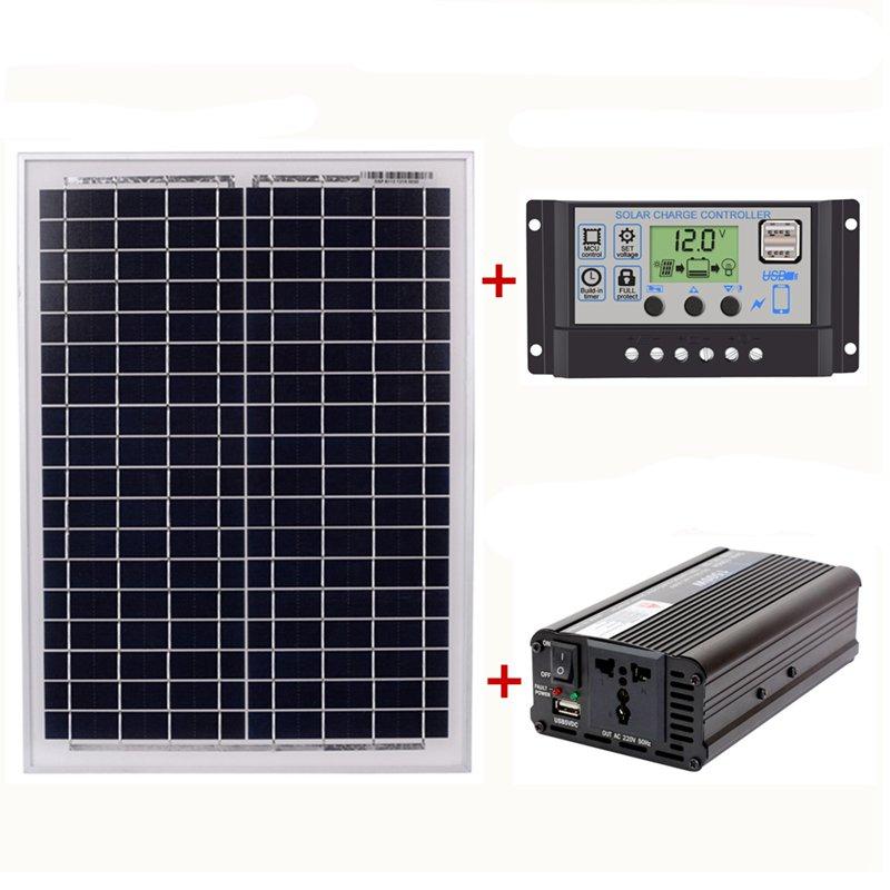 Hot 18V20W Solar Panel +12V / 24V Controller + 1500W Inverter Ac220V Kit, Suitable For Outdoor And Home Ac220V Solar Energy-SaHot 18V20W Solar Panel +12V / 24V Controller + 1500W Inverter Ac220V Kit, Suitable For Outdoor And Home Ac220V Solar Energy-Sa