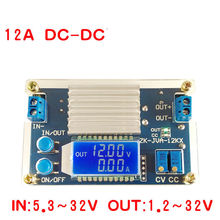 DC DC Chuyển Đổi 12A 160W CC CV Buck Bước Xuống Mô Đun Nguồn 5.3 32V Ra 1.2 32V 12V 24V 5V, Điện Công Suất Màn Hình LCD Hiển Thị Đồng Hồ