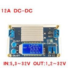 DC DC dönüştürücü 12A 160W CC CV Buck adım aşağı güç modülü 5.3 32V için 1.2 32V 12V 24V 5V gerilim akım güç LCD ekran ölçer
