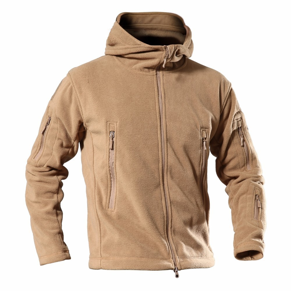 Spring Men Tactical Fleece Sweater Outdoor Warm Windproof Clothes Male Hooded Climbing Hiking Trekking Hunting Jacket Sport Coat