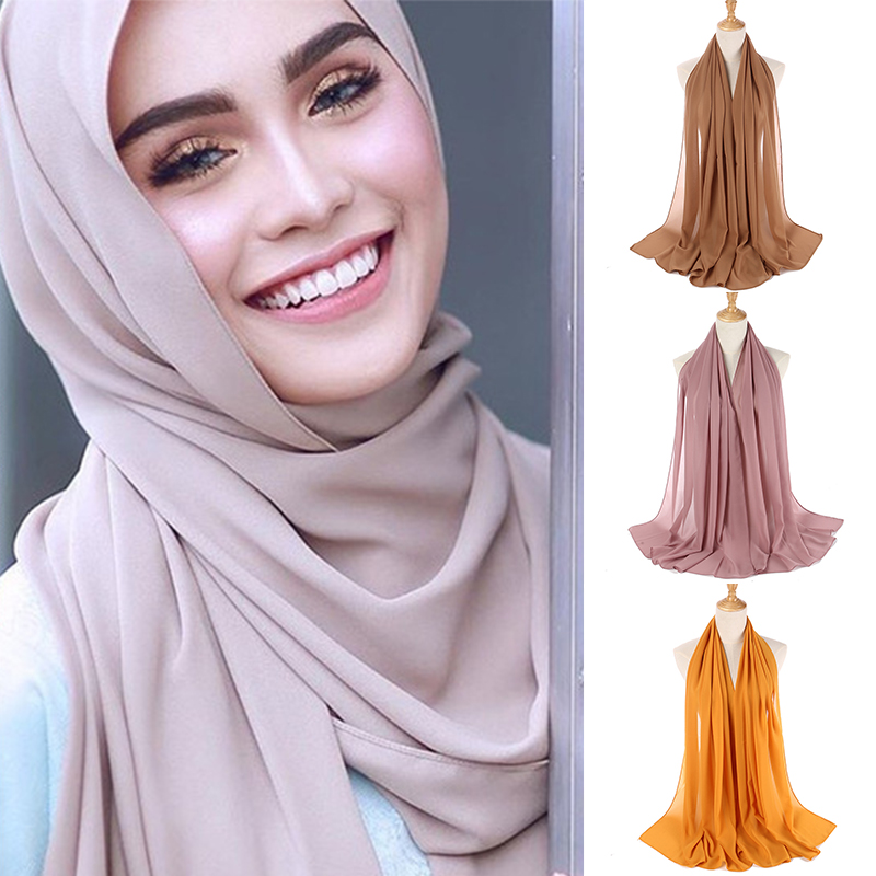 Sale Solid Color National Women Scarf Chiffon Headband Soft Shawls High Quality Muslim Hijab Scarf