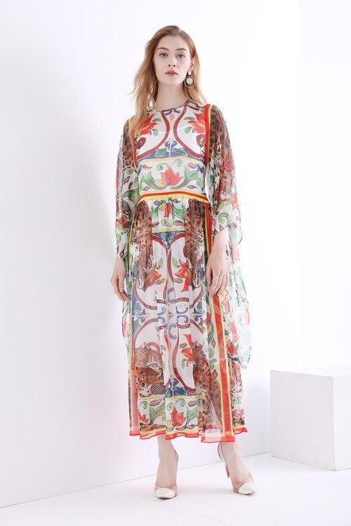Nouveau femmes robes en soie col rond imprimé à manches longues taille lâche Maxi robe 2018 style printemps.