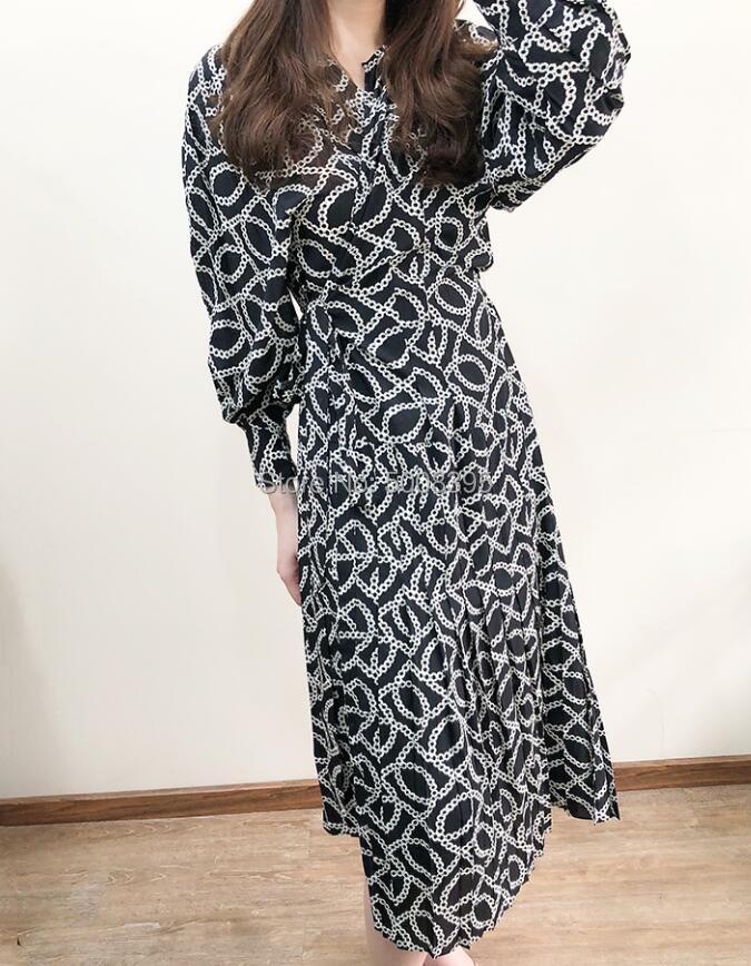 ALEXANDRA VESTITO Lungo stampato Wrap vestito di seta con Pieghe della vita cintura legata Rotonda Neckk Lunga Puff Maniche Lunghe 2019 NUOVO-in Abiti da Abbigliamento da donna su  Gruppo 3
