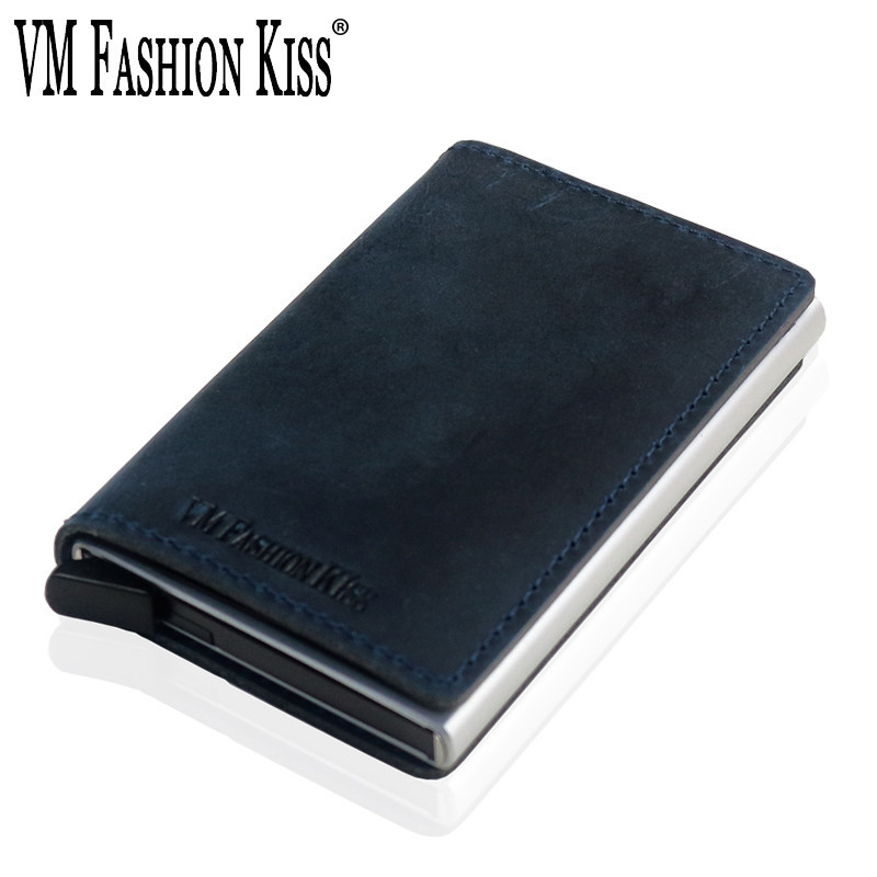 VM FASHION KISS Crazy Horse Genuine Leather RFID Security Wallet Aluminum Box Utomatic Business Credit ID Card Holder Wallets
