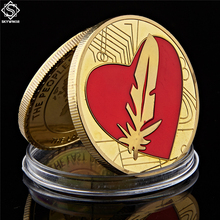 Позолоченная монета Античная Мода, любовь, сердце форма с пером сувенир Золотая монета коллекция