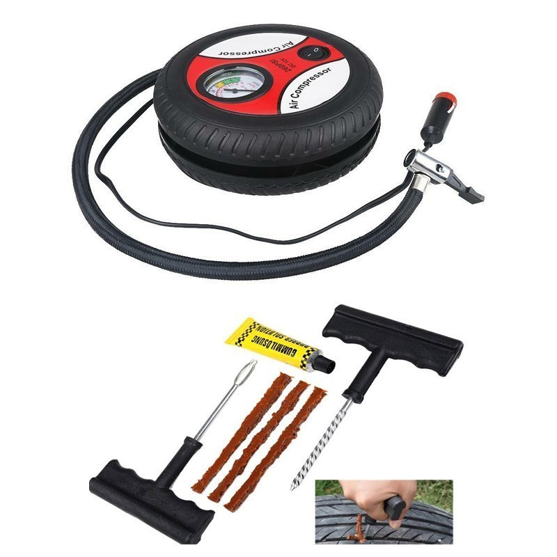 12V Portable Air Compressor Wheel 260psi Tyre Inflator Pump Car Auxiliary Tools Tire Inflation Pump With Tire Repair Tool