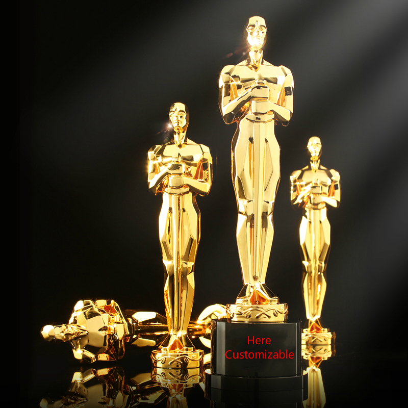 Hot Oscar Statuette Professional Customized Lettering Black Crystal Resin Company Trophy Best Actor Academy Award Souvenir