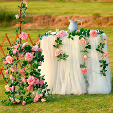 2.4M/Lot Silk Rose Flower With Ivy Vine Artificial Flowers For Home Wedding Decor Floral Garland Decoration