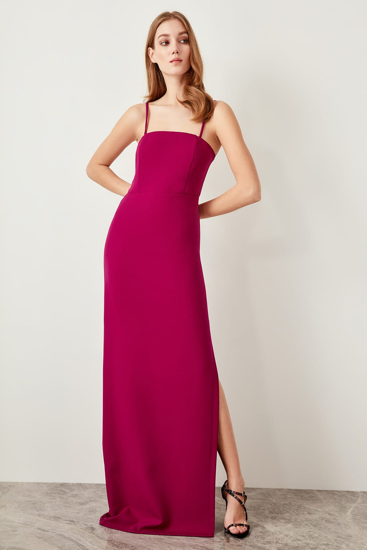 b78d3d6f24254 US $21.26 49% OFF|Aliexpress.com : Buy Trendyol Plum Evening Dress Slit  TPRSS19FZ0237 from Reliable Evening Dresses suppliers on Trendyol Party  Store