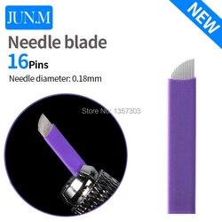 50 개 Super sharp 0.18 Tattoo 바늘 액세서리 영구 메이 컵 멸균 Purple 16 pins Microblading Blade 대 한 눈썹 Lip-B5