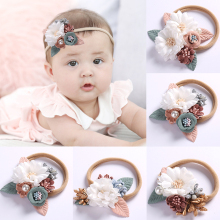 Fashion 1PC Popular Elastic Headwear Baby Headband With Pearl Flower Kids Hair Band High Quality Hair Accessories amazing fashion 1pc girls kids pearl headband bow lace headband flower headwear children hair accessories