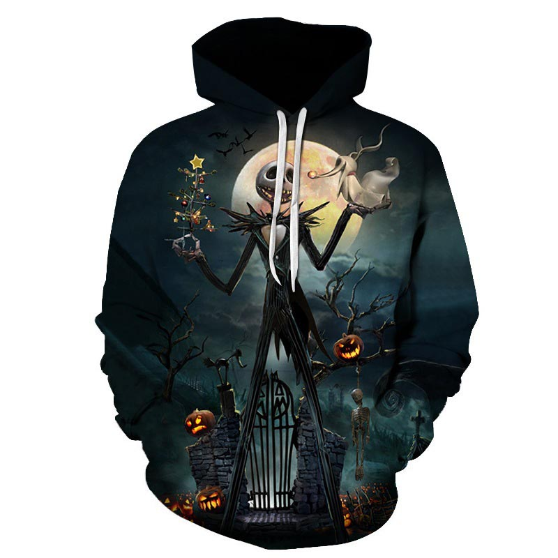 Dropshipping Jack Sally digital print suprem Hoodies Sweatshirt women/men 2018 long sleeve Sweatshirts cool street costumes