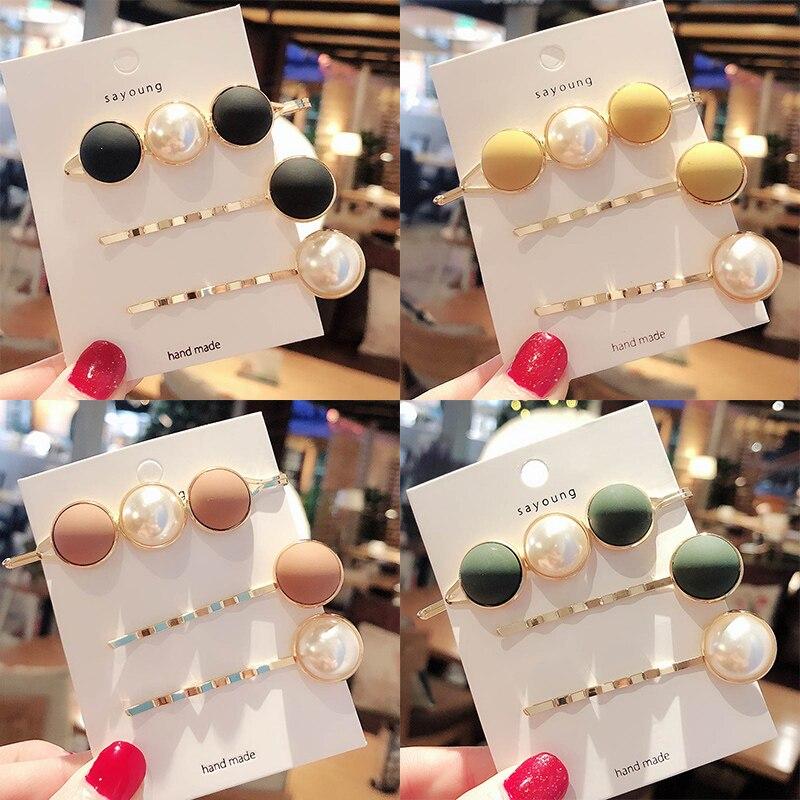 Fashion 3Pcs Korean Candy Color Cute Ball Hairpins Women Hair Clip Barrettes Sweet Imitiation Pearl Girls Accessories