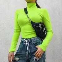 Herbst Winter Langarm-rollkragenpullover Frauen Streetwear Solide Stricken Pullover Frauen Schwarz Rosa Baumwolle Pullover Femme 2019