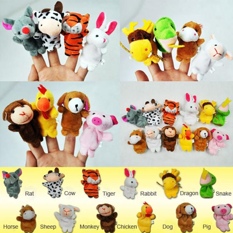 6//12Pcs Cute Animal Finger Puppet Cartoon Doll Kids Baby Educational Toy Gift