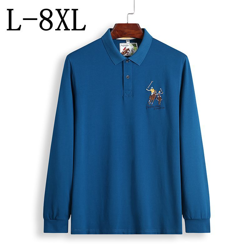 2018 New Autumn Fashion   Polo   Shirt Men Long Sleeve Printed Men's   Polos   High Quality Camisa   Polo   Masculina Plus Size 6XL 7XL