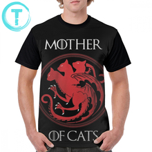 Game Of Thrones T Shirt Mother Cats T-Shirt Fun Casual Graphic Tee Short Sleeves Plus size  Mens 100 Polyester Tshirt