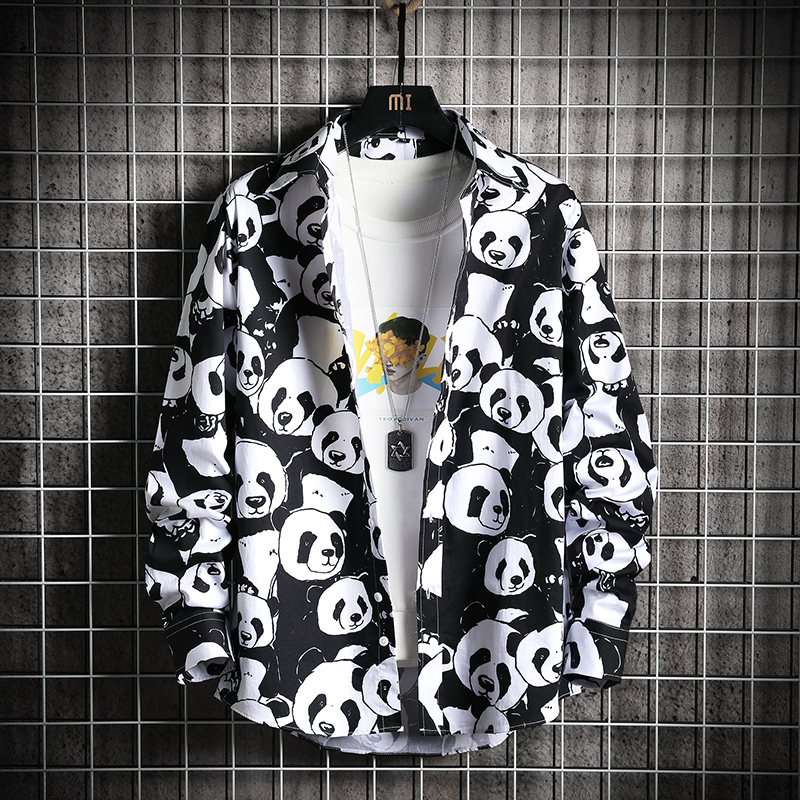 2019 Spring And Summer New Korean Version Of Hip Hop Cotton Couple Harajuku Loose Giant Panda Print Long sleeved Shirt M 3XL