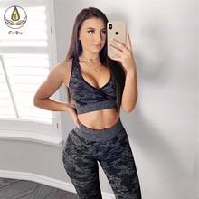 2019 Hot 2 PCS Women Leggings with Bra Sports Running Suit Push Up Sports Vest Bra Seamless Yoga Leggings Lift Yoga Set Clothes tropical print sports bra with leggings