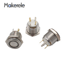 Waterproof Thread 3V yellow LED Stainless Steel Momentary Push Button Switch 1NO 4Pin 16mm