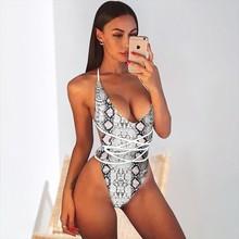 DIY Long Strap Leopard Swimsuit Women 2019 Wrap Around Snakeskin Printed Swimwear One Piece Female Bather Bathing Suit Swim