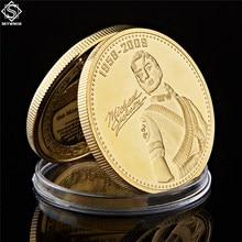 O rei do pop michael jackson lembrança moeda banhado a ouro moeda comemorativa annivesary melhor presente