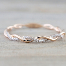 Hot 2019  Twist Crystal Rings For Women Thin Rose Gold Color Rope Stacking Engagement Wedding Dropshipping