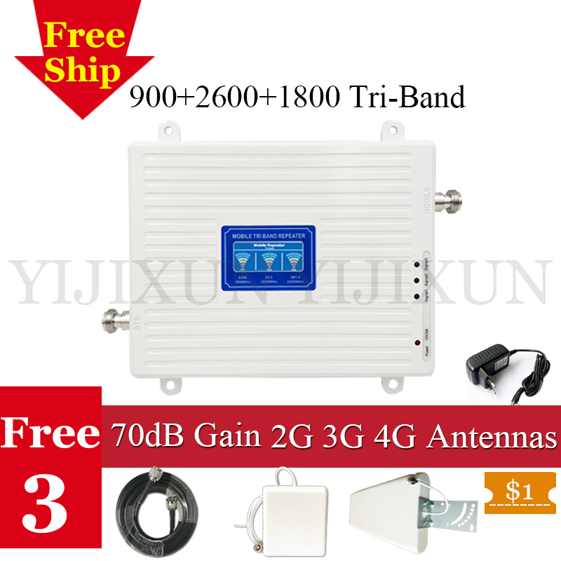Russie 900 1800 2600 Tri-Bande Signal Cellulaire Booster GSM DCS FDD LTE 2600 2G 3G 4G Mobile Signal Répéteur de Téléphone portable Amplificateur