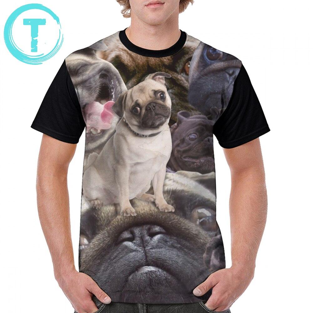 Camiseta Pug Muito Pug T-Shirt Short-Sleeve Oversized Camiseta Gráfica Impressa Poliéster Clássico Tshirt Dos Homens Diversão