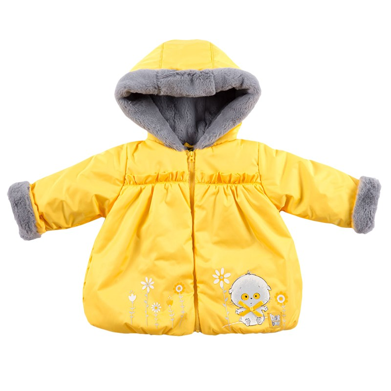Basik Kids Jacket Ballon fur yellow camo insert faux fur trim denim jacket