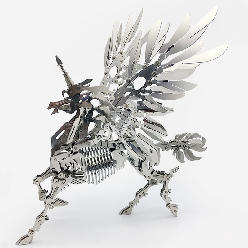 Large Unicorn 3D Steel Metal Joint Mobility Miniature Model Kits Puzzle Toys Children Boy Splicing Hobby Building