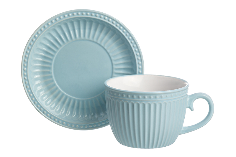 Available from 10.11Cup with saucer for cappuccino and latte Pastel heavenly Elan Gallery 160038 saucer state