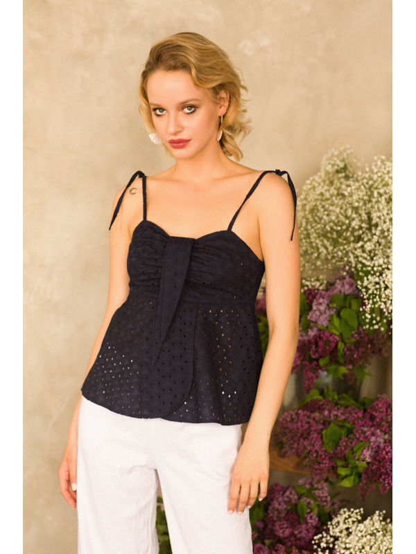 [Available with 10.11] Top cotton. Color blue. tank top with lace color sky blue