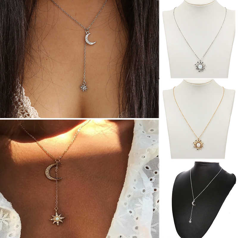 Sale Boho Vintage Multilayer Necklace For Women Silver Gold Color Crystal Moon Star Pendant Female Party Fashion Jewelry