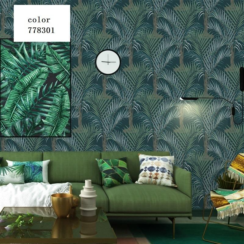 2019 nouveau nordique feuille papier peint sud-est asiatique tropicale forêt tropicale papier peint chambre vert gris plante frais élégant papier peint