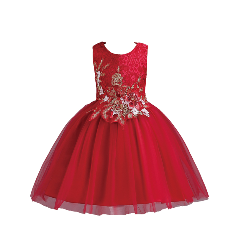 Flower Girls Dress Wedding Party Dresses For Kids Pearls Formal Ball Gown Carters Evening Baby Outfits Tulle Girl Frocks