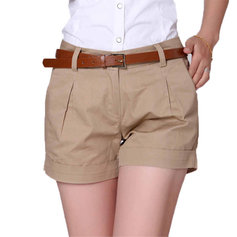 Korea Style Summer Woman Casual   Shorts   Plus Size S-2xl New Fashion Design Lady Casual   Short   Solid Color Khaki / White Kh804247