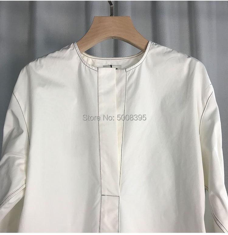 화이트 arras 블라우스 코튼 v 목 드롭 어깨 보이는 탑 스티치 긴 소매 buttoned 커프 패션 여성 의류 2019-에서블라우스 & 셔츠부터 여성 의류 의  그룹 3