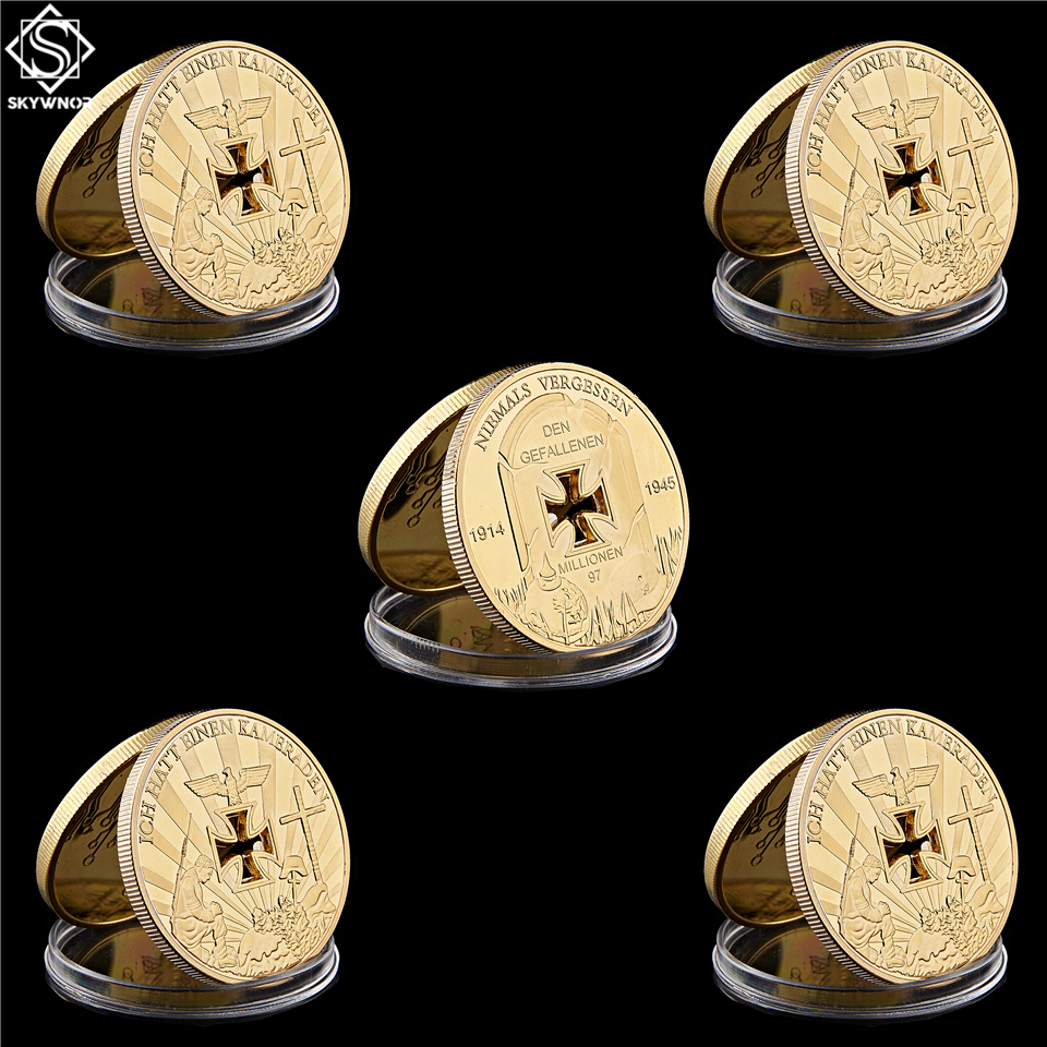 5PCS World War I Germany Cross Gold Coin Ich Hatt Einen Kameraden Commemorative Military Challenge Coin Value