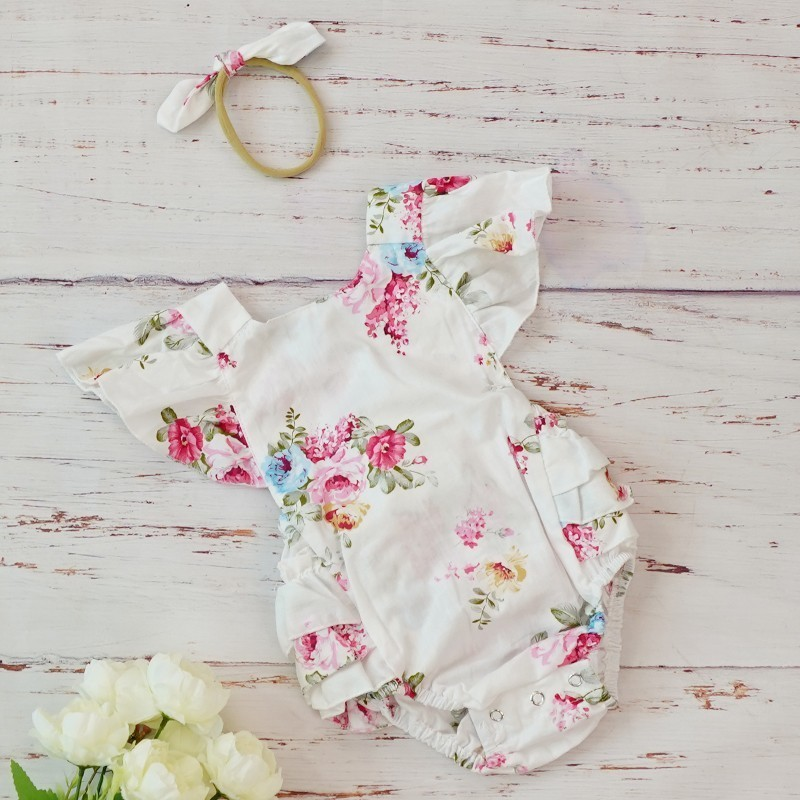 Cotton Baby Girl Clothes Costumes Floral Print Headband Boutique Summer For Newborn Cute Vintage   Rompers   Jumpsuit 0 3 6 Months