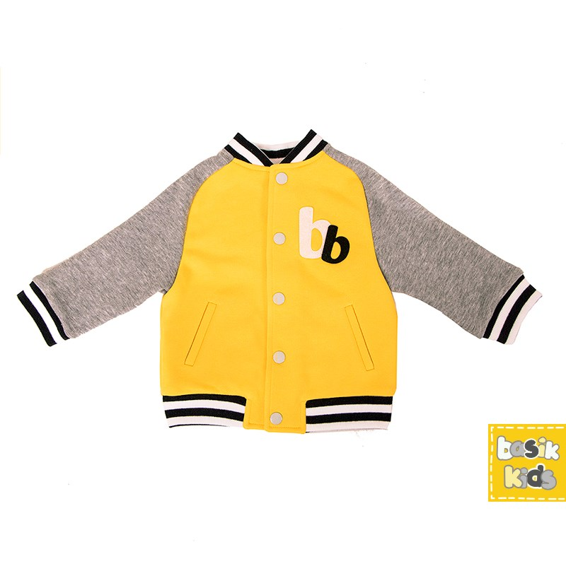 Basik Kids Jacket bomber jacket yellow kids clothes children clothing basik kids hooded jacket gray