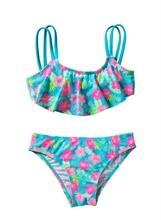 Baby Girls Ruffles Flower Print Two Pieces kids Swimsuit Swim Wear Strap Beachwear Bathing Suit Bandage Children Bikini Tankini