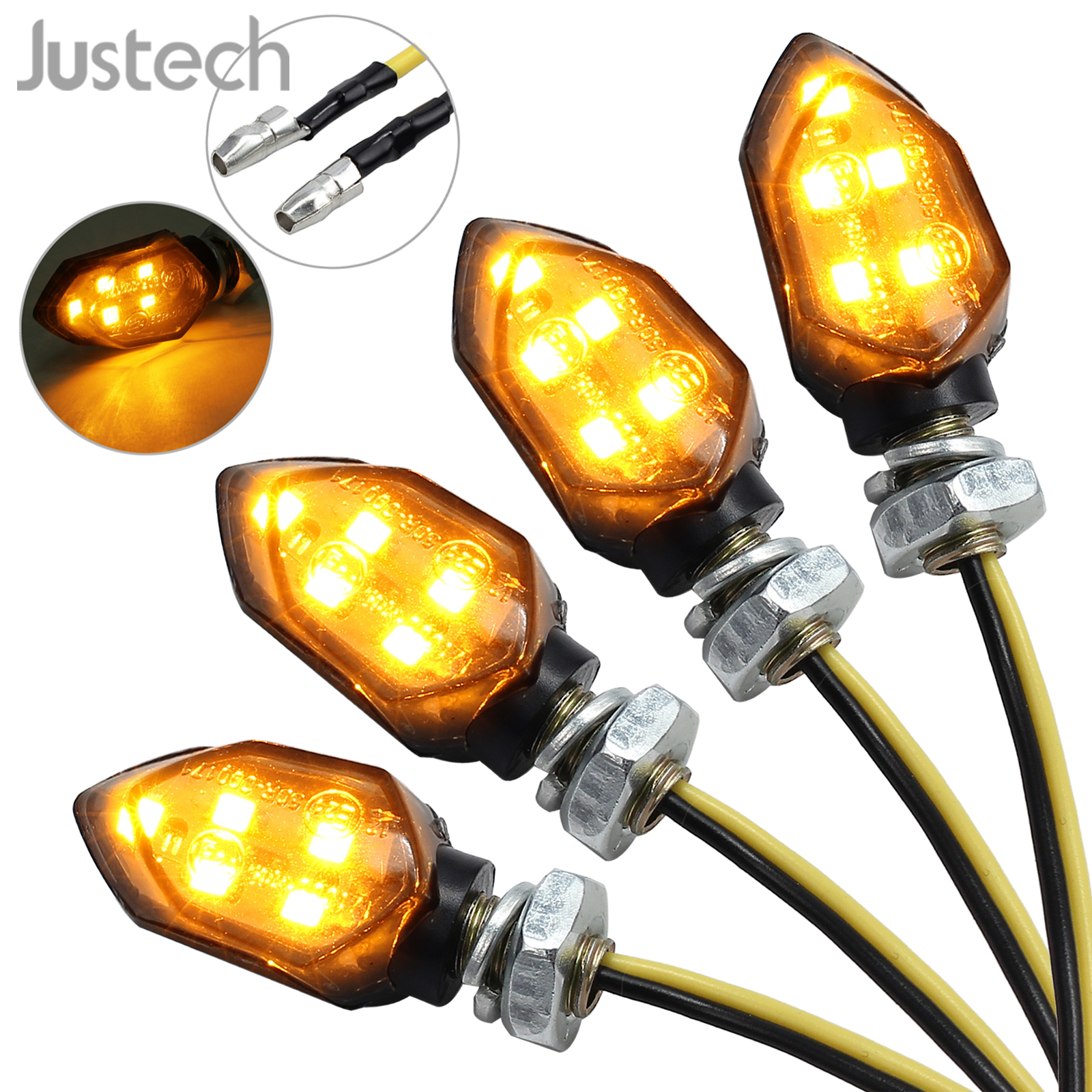 Justech 4pcs Universal Waterproof Motorcycle Motorbike 5LED Micro Turn Signal Indicator Amber Light Metal DC 12V