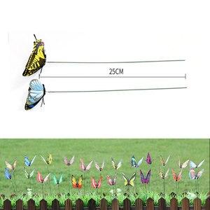 50 шт Красочные Искусственные бабочки с стержнями имитация цвета поддельные бабочки Дворовые украшения для бонсай цветочный горшок садовый декор
