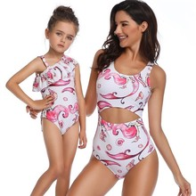 цена на Mother Daughter Kids Matching Family Outfits Cartoon Pattern One-piece Swimsuit Flounce Women Girl Bathing Suit Mommy And Me