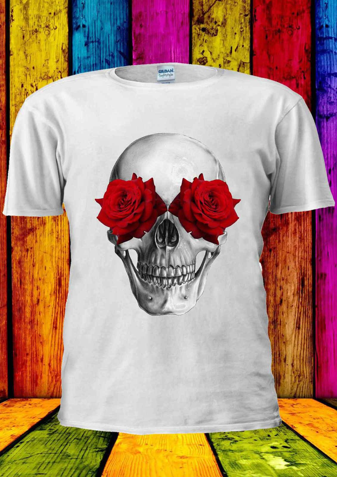 Red Roses And SKULL SUMMER FESTIVAL T-shirt Vest  Men Women Unisex 1752 summer o neck tee, free shipping cheap tee
