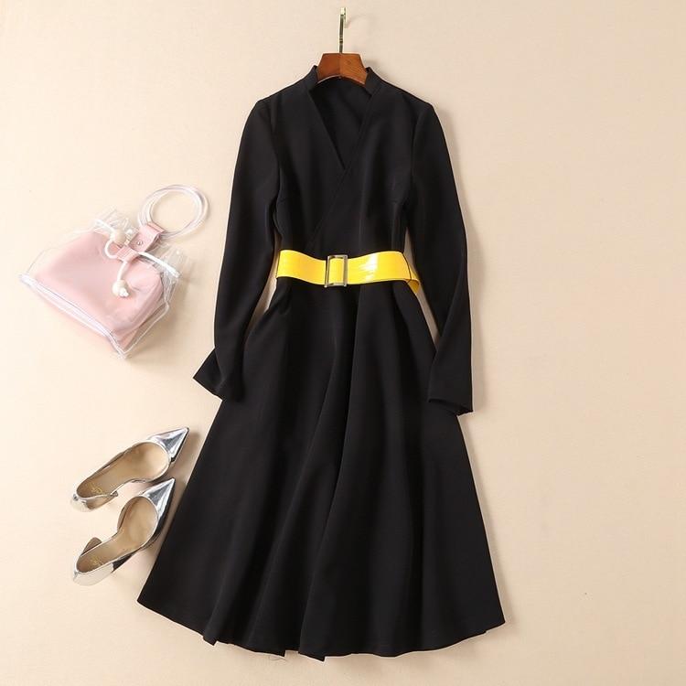 Col en v jaune vif large ceinture une ligne à manches longues robe midi femmes vêtements automne robes sexy noir robe de piste de haute qualité